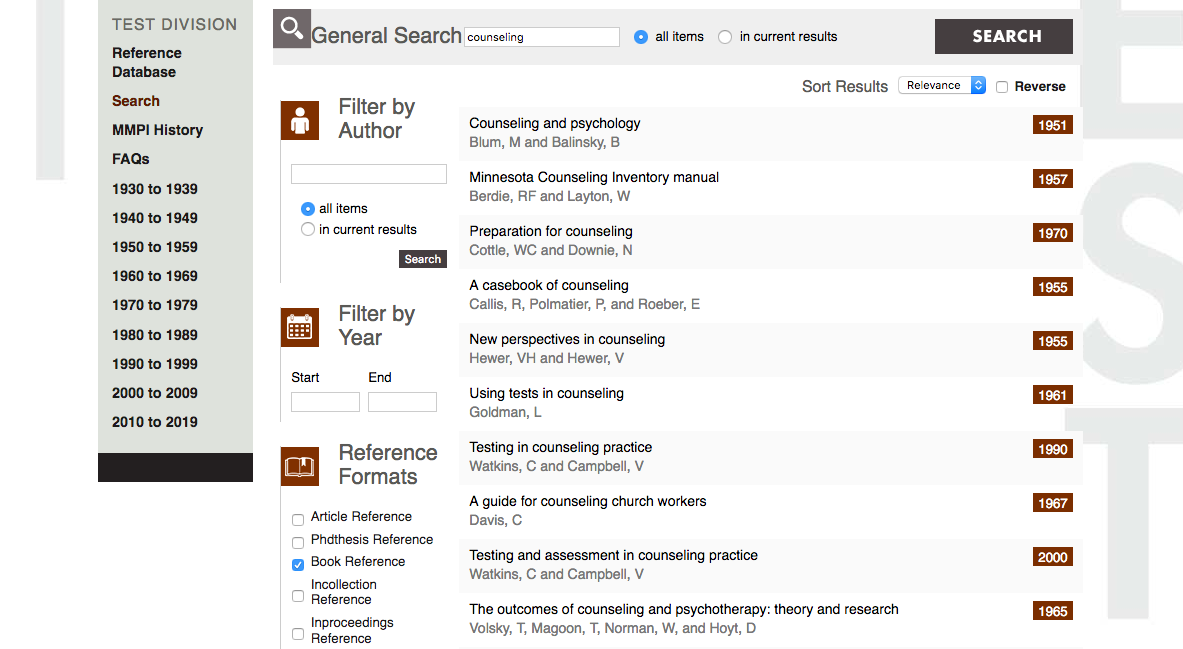 University of Minnesota Press Test Division Reference Database