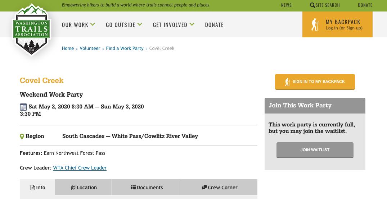 WTA Covel Creek Work Party