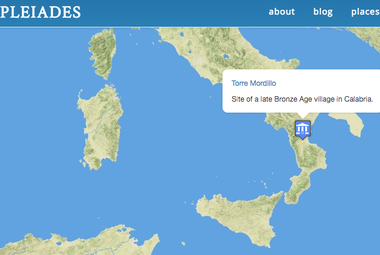 Screenshot of Pleiades map showing entry for Torre Mordilio