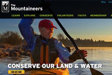 Screenshot of The Mountaineers' homepage